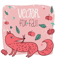 Card fox and apples vector