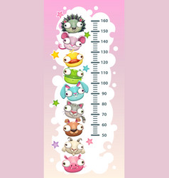 Kids height chart template vector