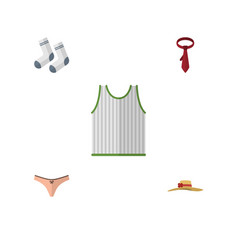 Flat icon clothes set of lingerie foot textile vector