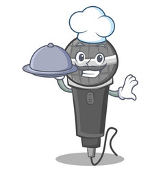 Chef with food microphone cartoon character design vector