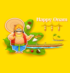 King Mahabali enjoying Boat Race of Kerla on Onam vector image