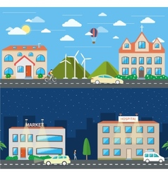 City scene in day and night vector