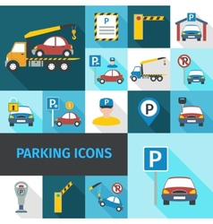 Parking icons flat vector