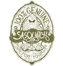 Woodcut sasquatch label vector