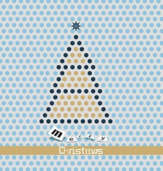 Merry christmas card - dotted tree vector