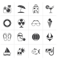 Black summer and beach icons vector