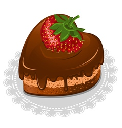 Chocolate cake in the shape of the heart vector