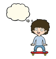 cartoon boy on skateboard with thought bubble vector image