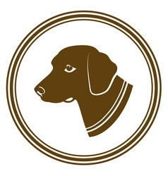 Sign of brown dogs head in white round silhouette vector