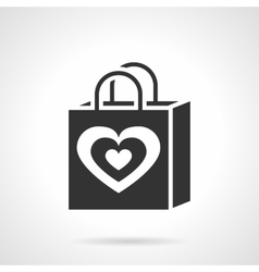 Valentines day shopping bag black icon vector