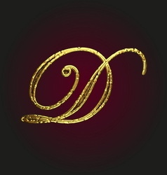 D golden letter vector