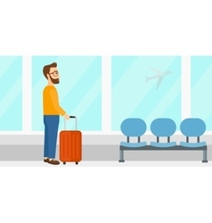 Man at airport with suitcase vector
