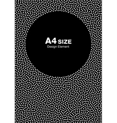 Dots Circle Frame on Black Background A4 size vector image