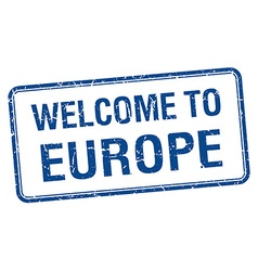 Welcome to europe blue grunge square stamp vector