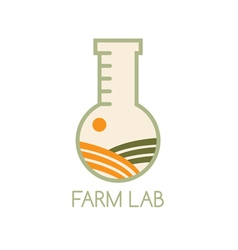 Farm lab design template with field vector