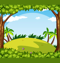 background scene with trees on the hill vector image vector image