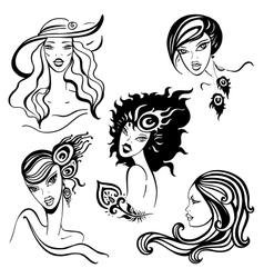 Beautiful women set vector