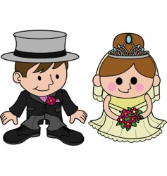 bride and groom characters vector image vector image