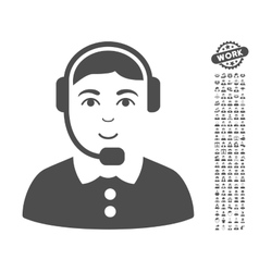 Call center operator icon with bonus vector