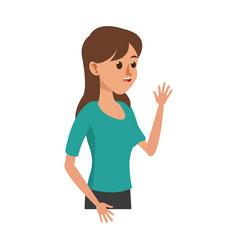 character young woman say hi image vector image