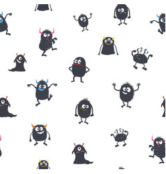 cute cartoon monsters seamless pattern vector image vector image