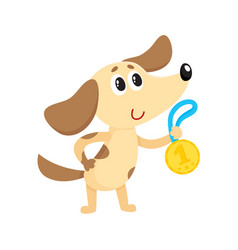 Cute little dog puppy character champion holding vector