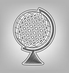 Earth globe sign pencil sketch imitation vector