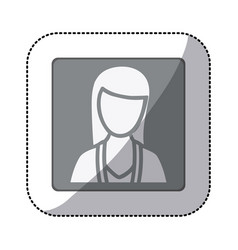 grayscale sticker of square frame half body vector image