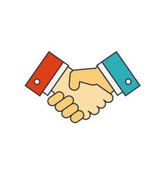 Handshake flat line icon vector