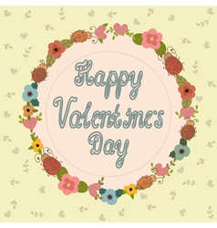 Happy Valentines day card Hand lettering vector image