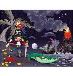 Pirate on the island in the night vector image vector image