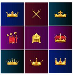 Royal gold medieval attributes set vector