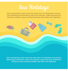 Sea rest concept beach items cartoon style vector
