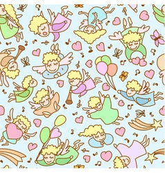 Seamless pattern made from cartoon girls angels vector image