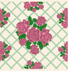 seamless pattern of pink roses on the background vector image
