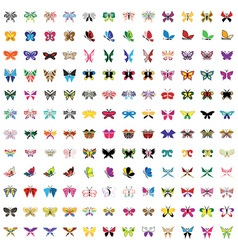 set colored icons butterfly vector image vector image