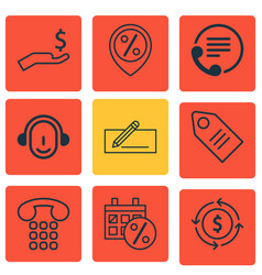 Set of 9 ecommerce icons includes discount vector