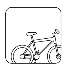 Square silhouette button with contour sport bike vector