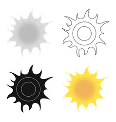 Sun icon in outline style isolated on white vector