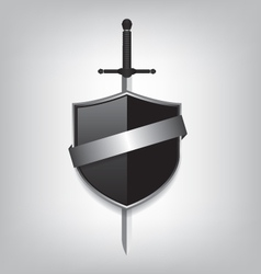 Sword and black shield vector image