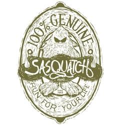 Woodcut Sasquatch Label vector image vector image