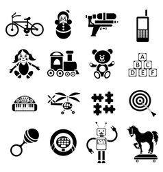 Childrens toys icons set simple style vector