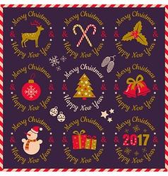 set christmas banners violet 2017 vector image