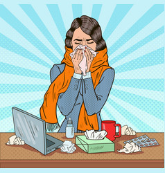 pop art business woman sneezing at work vector image