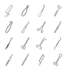 Surgeons tools icons set outline style vector