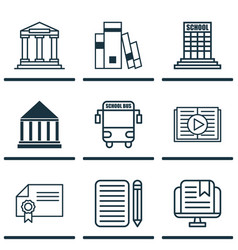 Set of 9 school icons includes diploma academy vector
