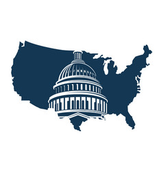 capitol building on background of the map vector image