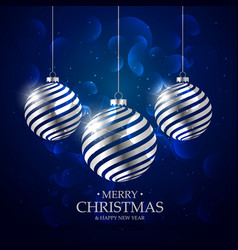 dark blue background with silver christmas balls vector image
