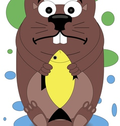 Beaver holding in the paws of a goldfish vector