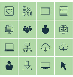 Set of 16 internet icons includes pc program vector